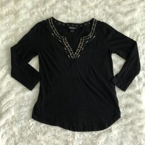 Black Embellished Lucky Brand Long-Sleeve Top